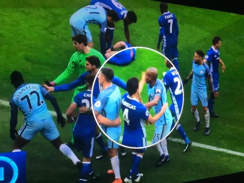Photo evidence showing Fenandinho being slapped by Fabregas