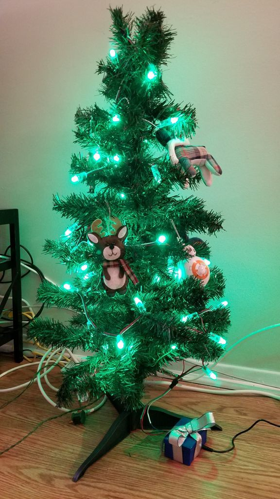 Christmas Tree Connected to CheerLights with the @Adafruit HUZZAH #ESP8266 #iot #red
