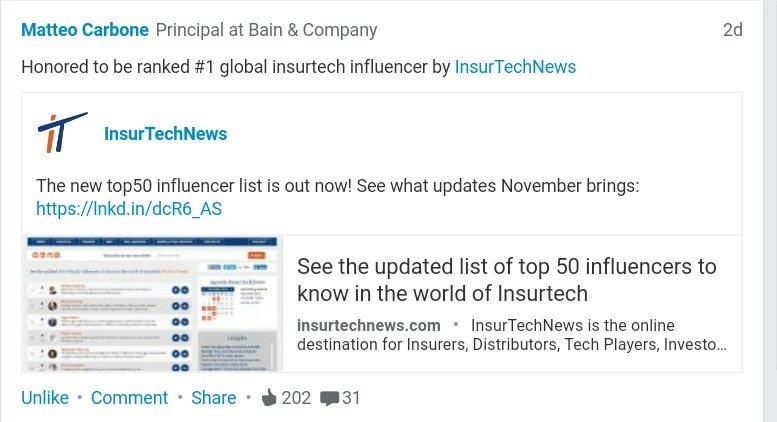Honored to be ranked #1 Global #insurtech influencer by @insurtechnews     #fintech #IoT