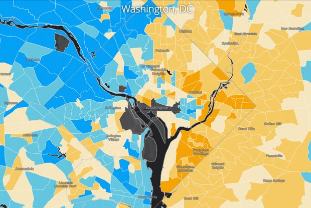 These maps reveal the striking neighborhood-level income disparity in major U.S. cities