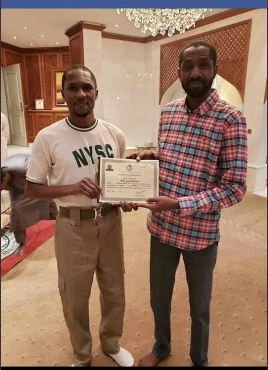 This Photo Of Yusuf Buhari Holding NYSC Certificate Spark Reactions From Nigerians