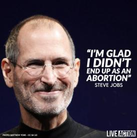 """Live Action on Twitter: """"Steve Jobs' mother rejected abortion when she  became pregnant at 23. Instead, she placed Steve for adoption! ❤️ Jobs was  extremely grateful: """"I wanted to meet [my birth"""