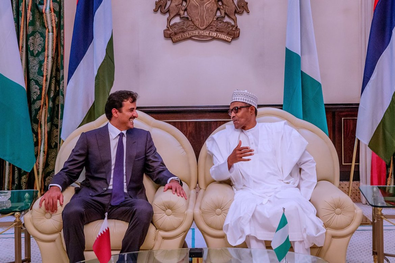 D418JIsXoAEMSOK - Photos: Buhari Hosts Emir Of Qatar In Abuja