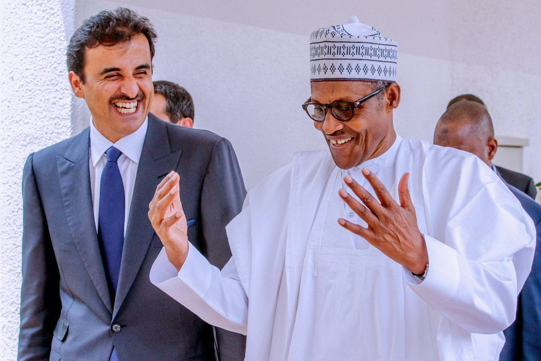 D418JIuWwAAz2oT - Photos: Buhari Hosts Emir Of Qatar In Abuja