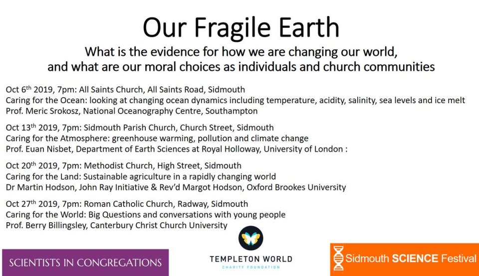 Our Fragile Earth  - through a series of four Sunday evening talks and follow-up weekday discussion groups in Sidmouth, East Devon, you are invited…