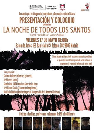 """test Twitter Media - Presentación y coloquio sobre el cortometraje """"La Noche de todos los Santos"""" el viernes 17 de mayo a las 18:00 en el Salón de Actos del IES San Isidro en Madrid. https://t.co/xg2iPHd0nH"""