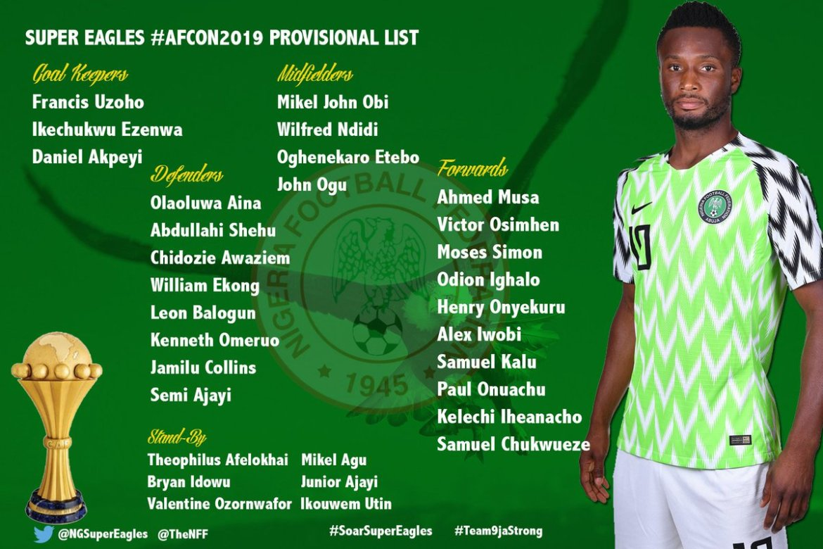 D6jNnXOW4AM6khj - Gernot Rohr Names 25-man squad to prepare for the 2019 Africa Cup of Nations