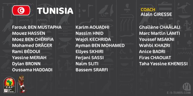 القائمة الرسمية لمنتخب تونس في كأس الأمم الإفريقية 2019 25