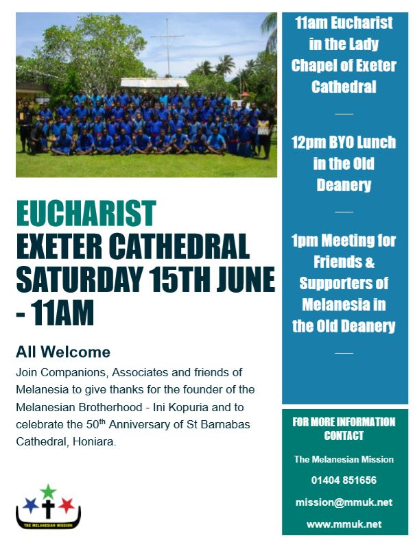 South West supporters & Companions to the Melanesian Brotherhood, will be remembering Ini Kopuria at a service at Exeter Cathedral on 15th June…