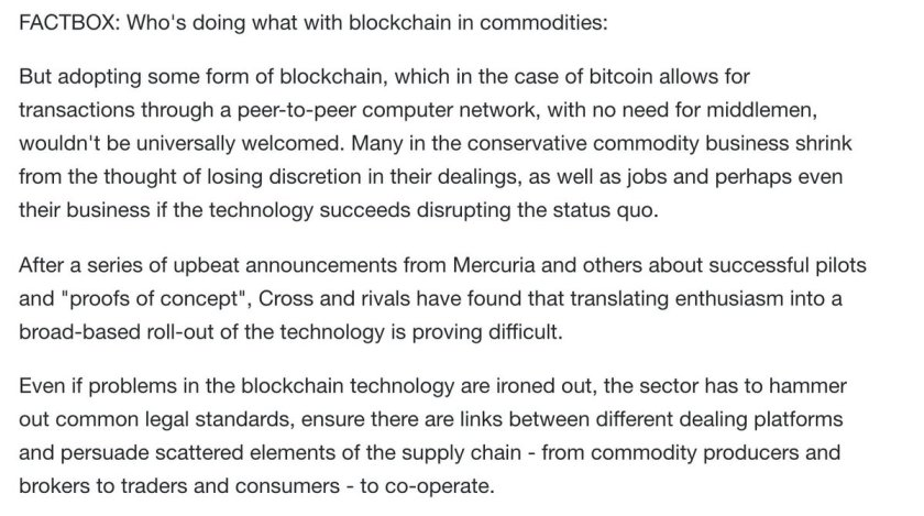 Commodity traders, banks face hard realities with game-changing blockchain