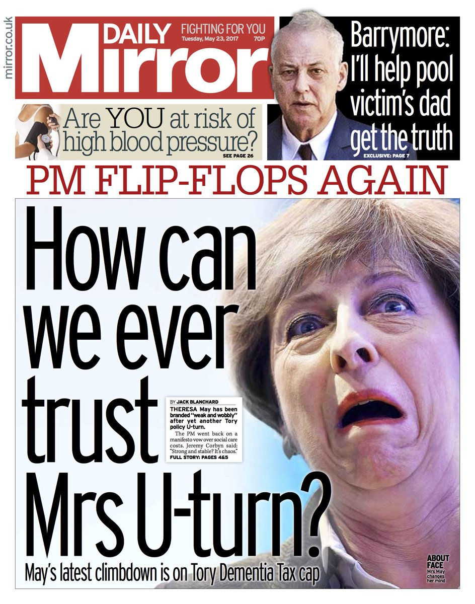 Daily Mirror Front Page How Can We Ever Trust Mrs U Turn