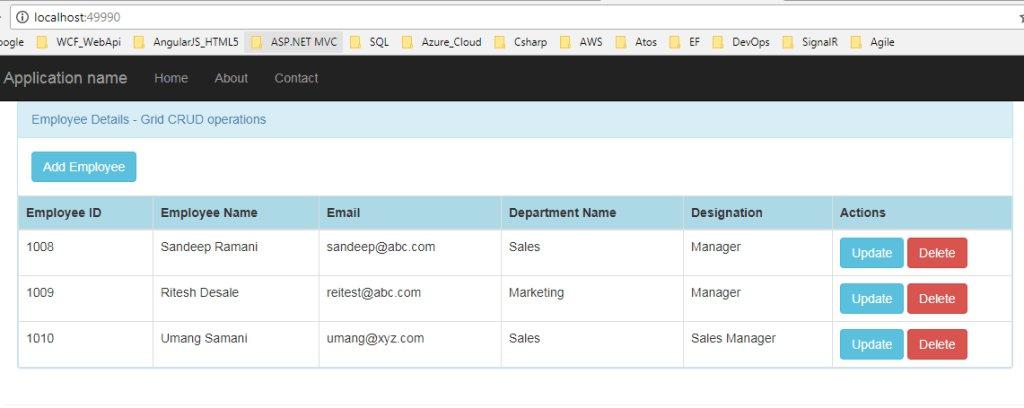 AngularJS CRUD Using  MVC5 – CREATE, UPDATE and DELETE EmployeeData