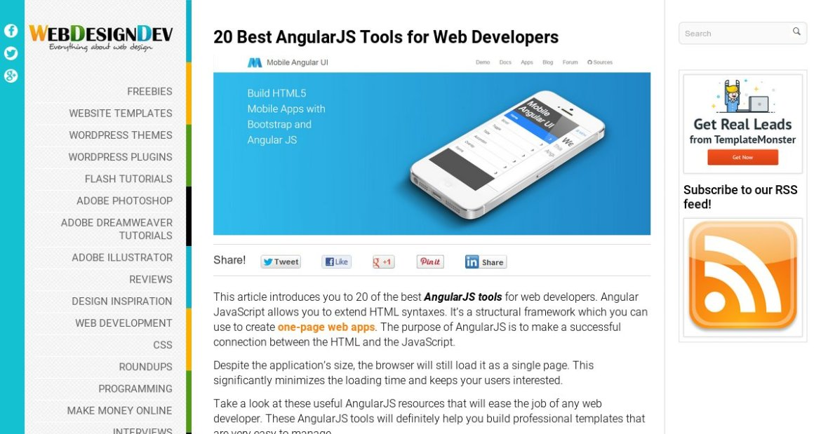 20 Best #AngularJS #Tools for #Web #Developers  via @webdesigndev