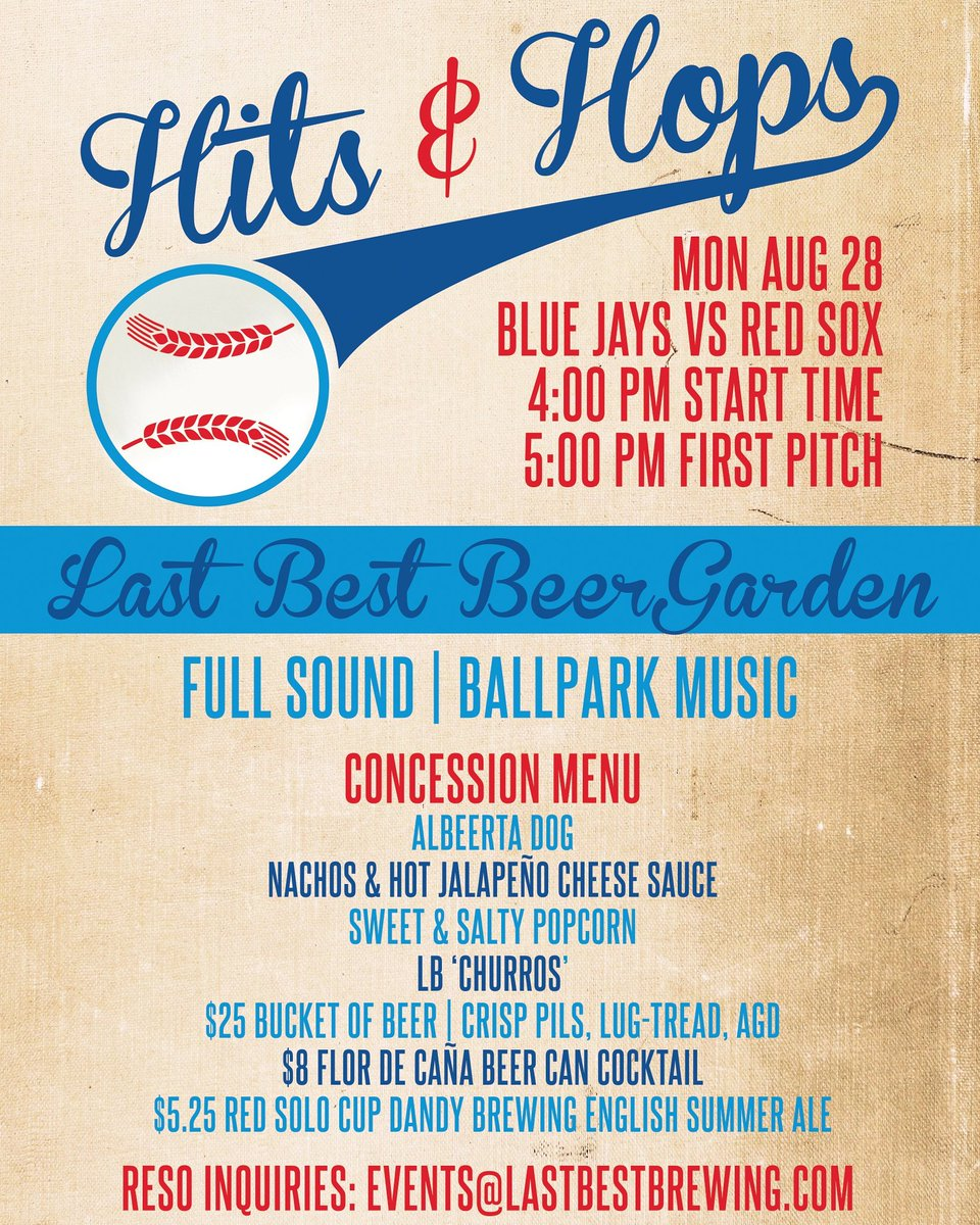 Food it's what alfredo dreams are made of. Last Best Brewing On Twitter Join Us For Hits Hops On Aug 28 Where We Ll Be Moving The Jays Game Into The Beer Garden Concession Style Snacks And Drink Specials Yyc