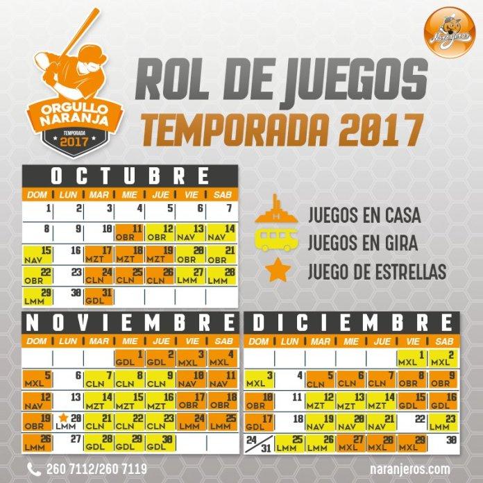 calendario naranjeros 2017