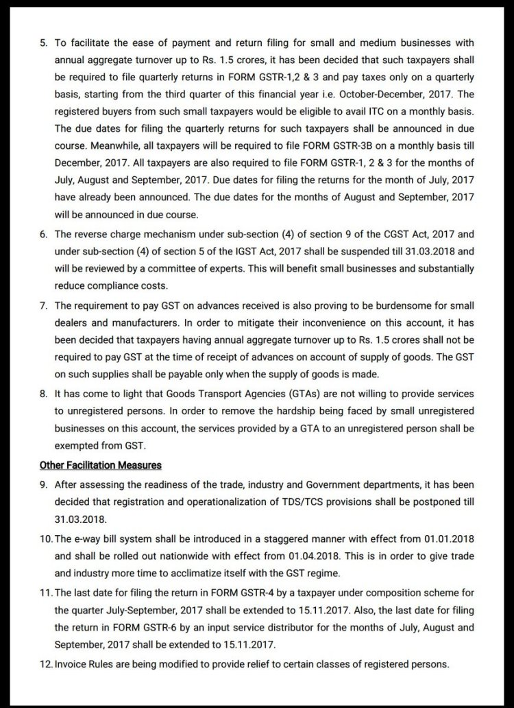 Press release for 22nd GST Council meeting