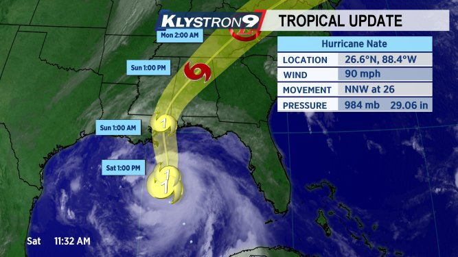 LATEST ADVISORY: Nate predicted to be a Category 2 hurricane at landfall.