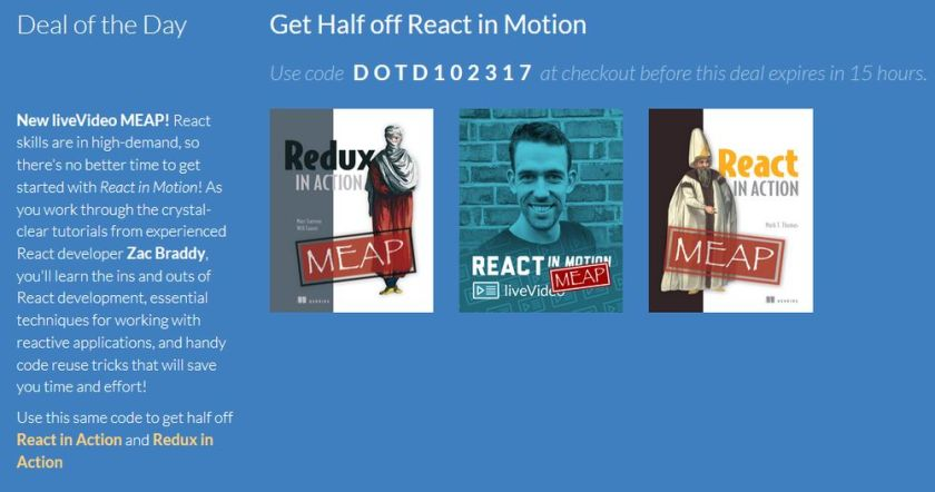 DOTD Oct 23: Half off React in Motion! Use code dotd102317tw at  #react #reactjs