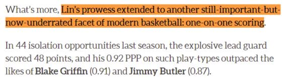 """@hoopshype @JLin7 """"Lin's prowess extended to another still-important-but-now-underrated facet of modern basketball: #1On1Scoring"""" outpacing BGriffin & JButler"""