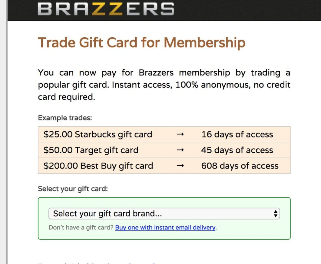 brazzers gift card. Black Bedroom Furniture Sets. Home Design Ideas