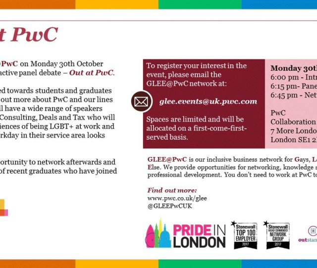 Or Recent Grad In London Join Us Next Mon 30 Oct For An Interactive Panel Debate Outatpwc Rsvp To Glee Eventsuk Pwc Com Https T Co Khggexuohj