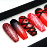 Black And Red Marble Nails Nail And Manicure Trends