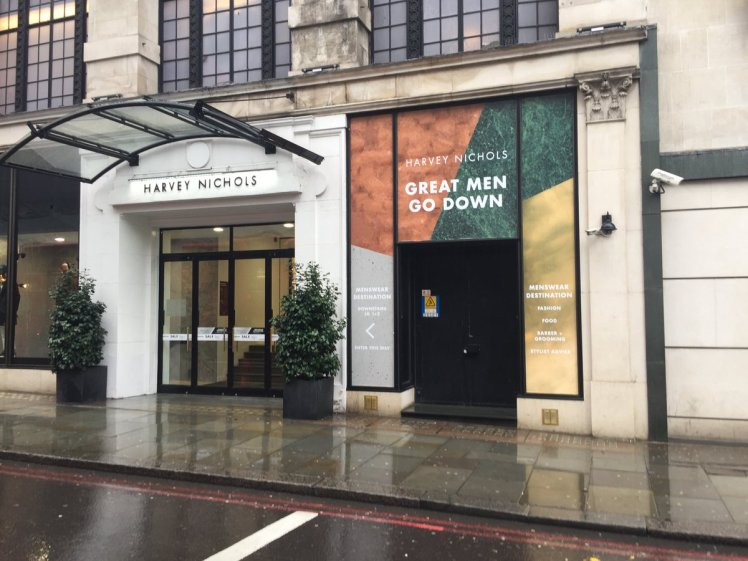 Is the Harvey Nichols sign that says 'great men go down' sexist?