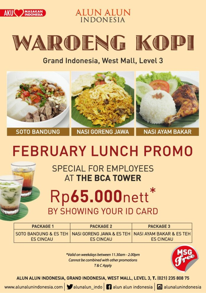 Alun Alun Indonesia On Twitter Special Price For Employees At The Bca Tower Show Your Employee Card And Enjoy The Appetizing Dishes Waroengkopi Alunalunindonesia Indonesianfood Promo Https T Co Ykvwbp7fpj