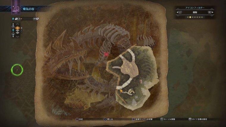 Rotten Vale map showing the Dalamadur skeleton