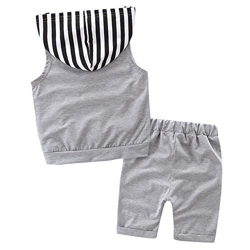 Scfcloth Newborn Baby Boys Infant 2pcs Stripe Sleeveless Hoodie + Shorts...