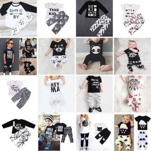 2pcs Newborn Toddler Kids Boy Girl Baby T-shirt Top Clothes + Pants Outfit...