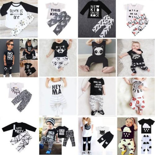 2pcs Newborn Toddler Kids Boy Girl Baby T-shirt Top Clothes + Pants Outfit...