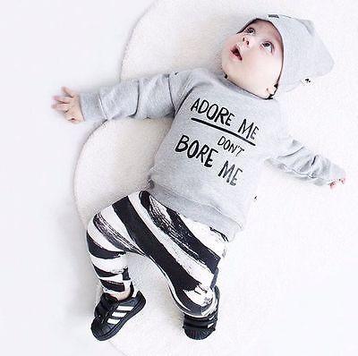#kidsfashionworld Adore Me Dont Bore Me 3pcs Outfit Bebes Clothing Set...
