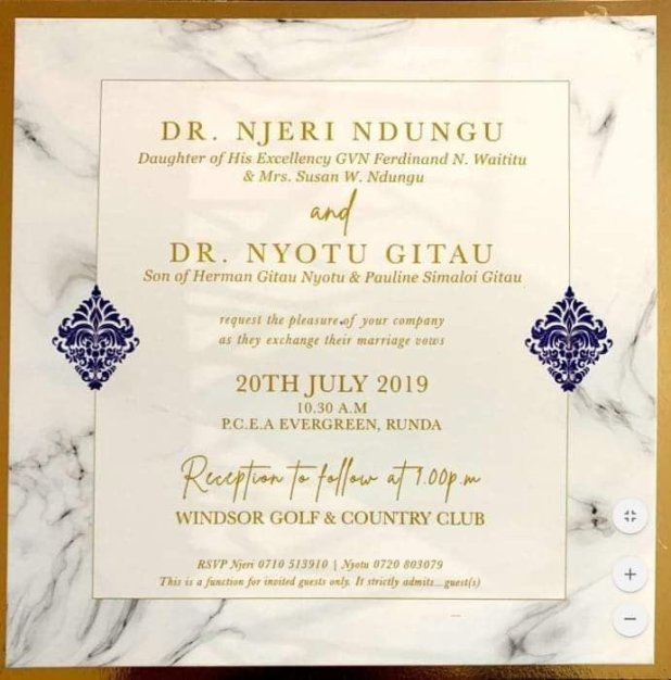 Image result for wedding invite for governor waititu daughter