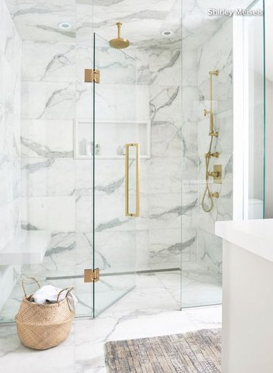 marbled tile gold accents