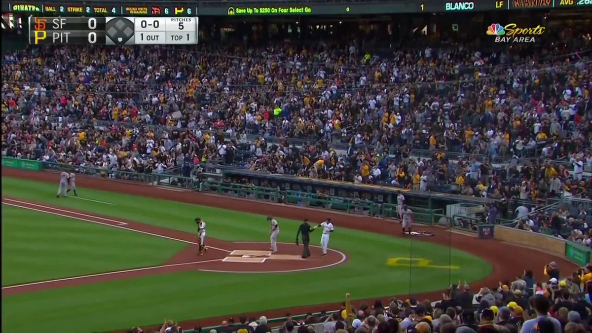 Image for the Tweet beginning: Long standing-o for McCutchen in