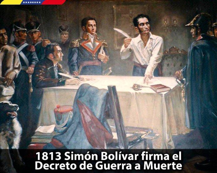 Resultado de imagen para Fotos de Simón Bolívar firma el Decreto de Guerra a Muerte.