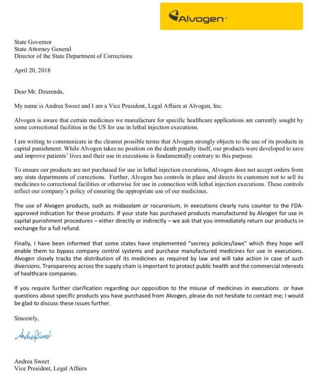 """Sister Helen Prejean on Twitter: """"Alvogen sent this letter to the"""