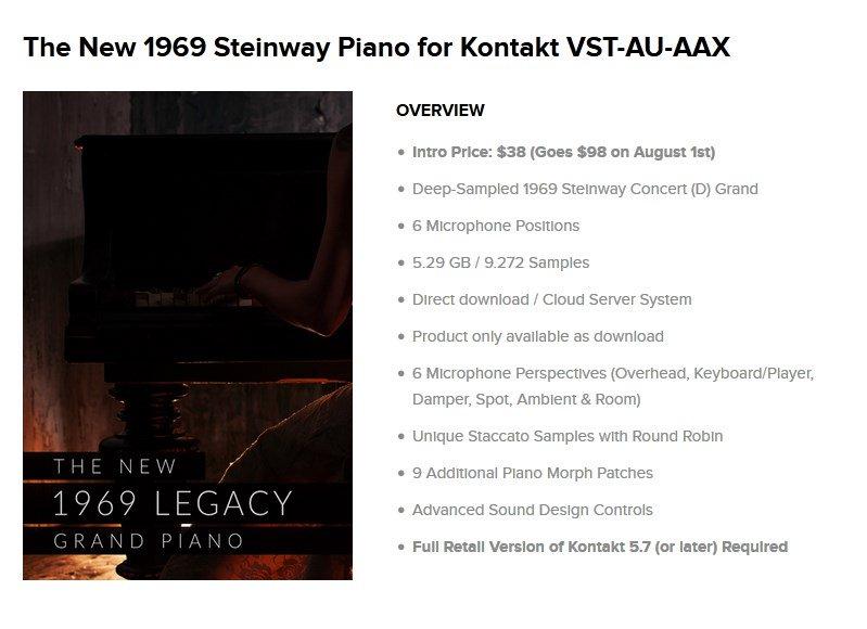 test ツイッターメディア - 8dioからピアノ音源『The New 1969 Steinway Piano』がリリース♪ イントロプライスで通常98ドルが38ドルに♪  とても綺麗な音色でシネマティック系に使えそう♪  最近8dioがお手頃価格で販売するようになり、今年のブラックフライデーが読めなさすぎる…。  https://t.co/ArYKKvJ4E0 https://t.co/fy64kYKvnA