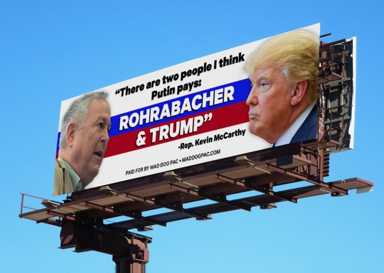 It's now clear that Trump is a bigger traitor than even Rohrabacher. But Russiabacher still gets a billboard.