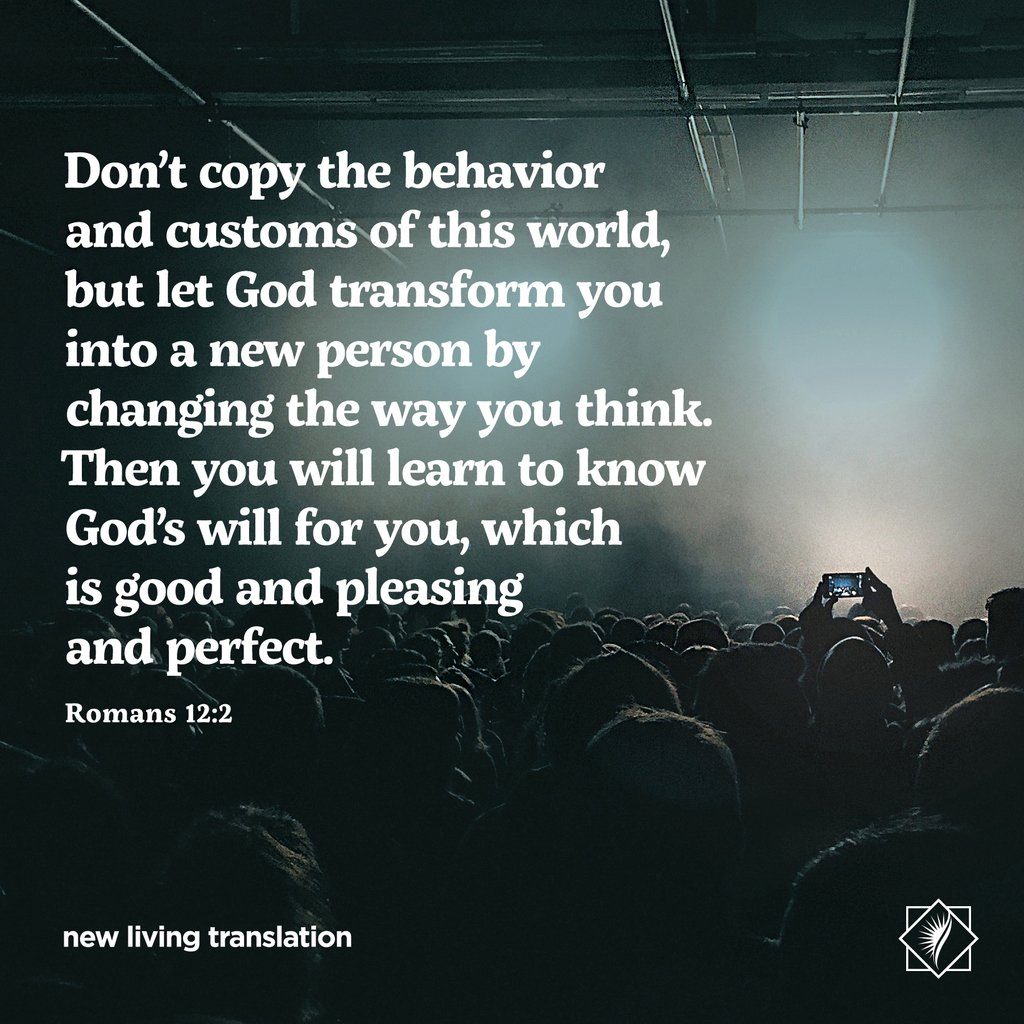 "NLT Bible Verse su Twitter: """"Don't copy the behavior and customs ..."