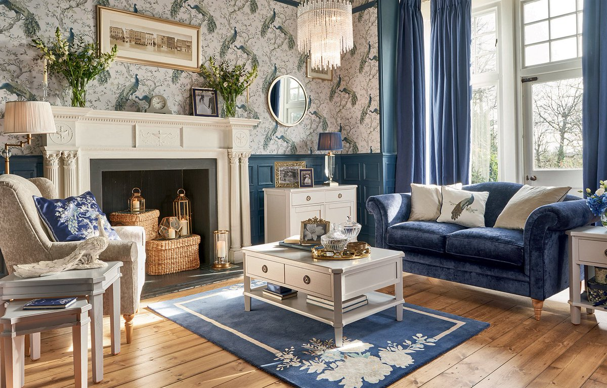Laura Ashley On Twitter This Cream And Navy Decor Adds Glamour And Charm To Any Living Room Space Https T Co Suqrvtxglu