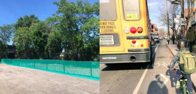test Twitter Media - image on the left is fencing with a specific height,distance & material that the city requires as part of their tree protection plans for sites undergoing construction.On the right is a child en route 2 school in a bike lane that meets all city requirements. #PersonProtectionPlan https://t.co/YDAv6EVi3b