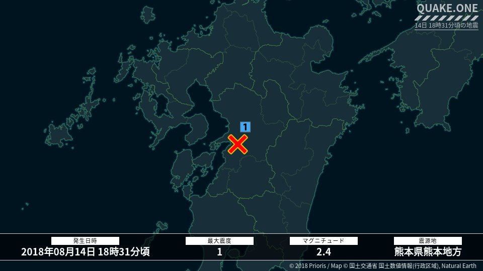 test ツイッターメディア - 14日 18時31分頃、熊本県熊本地方を震源とするM2.4、最大震度1を観測する地震がありました。この地震による津波の心配はありません。 https://t.co/OhSXRi2J0v https://t.co/F94jDnyjmT