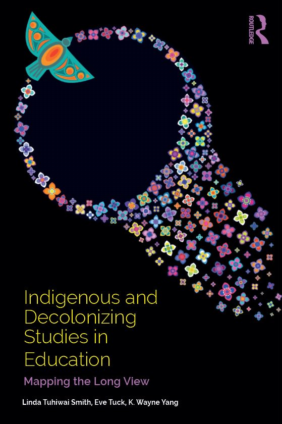 Cover for Indigenous and Decolonizing Studies in Education--artwork by Lisa Boivin called Hawk Medicine