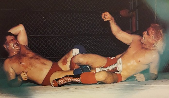 "Rasslin' History 101 on Twitter: ""Ric Flair made two NWA World Title defenses inside a steel cage vs Harley Race back in 1984:first one was in Toronto on February 16,1984,the other was"