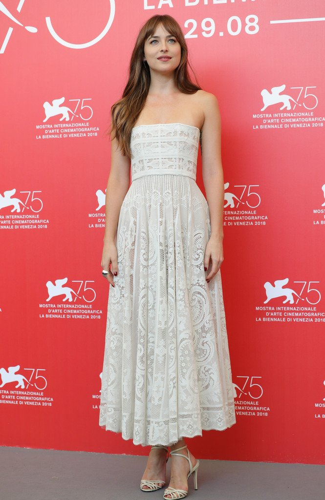 Dakota Johnson Wore A Resort 2019 Strapless Dress To The