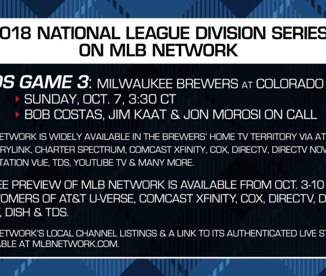 Mlb Network On Twitter Game Three Is On Mlb Network Tomorrow Brewers Fans Check Out Our Info  F0 9f 91 87