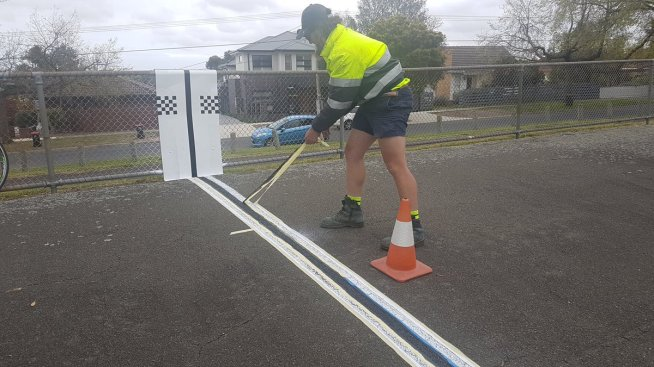 test Twitter Media - We noticed something was missing from the #MauriceKirbyVelodrome so we've taken it upon ourselves to repaint the finish line. Local riders, young and old, were thoroughly intrigued as they did their usual laps around the historic venue #NoblePark #Melbourne https://t.co/0jLBlW0SsL