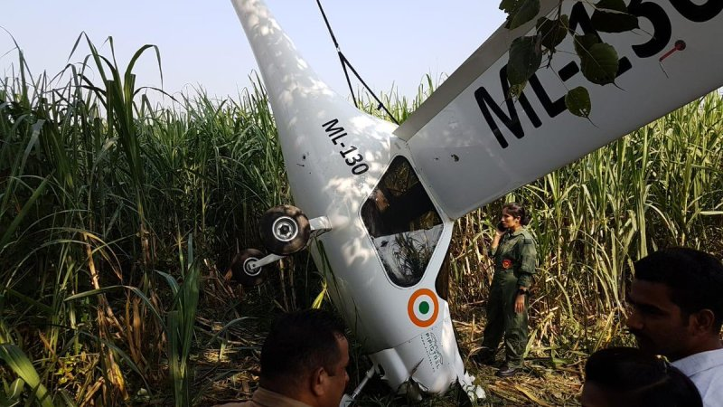 Crashed Indian Air Force ‎Pipistrel Virus SW 80 microlight aircraft.